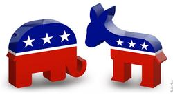 Republican Elephant & Democratic Donkey - 3D Icons by DonkeyHotey, on Flickr